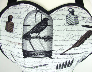 Edgar Allen Poe Inspired Two Skirt Apron / Black and white #A-2TE556