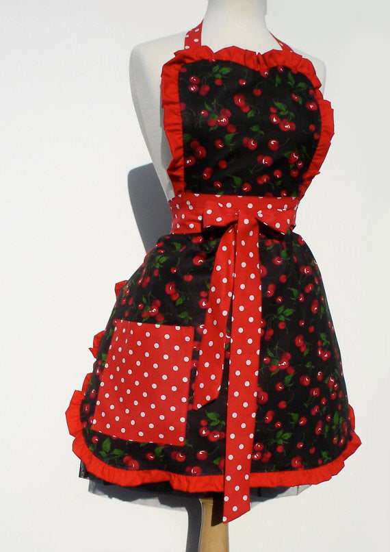 Red Retro Cherries and Polkadots Apron #A918