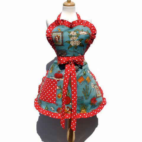 Blue and Red  Frida Apron # A958