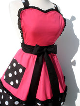 Load image into Gallery viewer, Pink and Polkadots Two Tier Apron #A911
