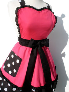 Pink and Polkadots Two Tier Apron #A911