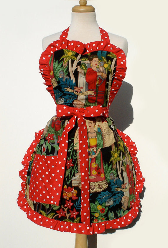 Black and Red Frida Apron # A955