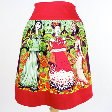 Red Frida Mexican Vintage Inspired Retro Skirt #S-RS236