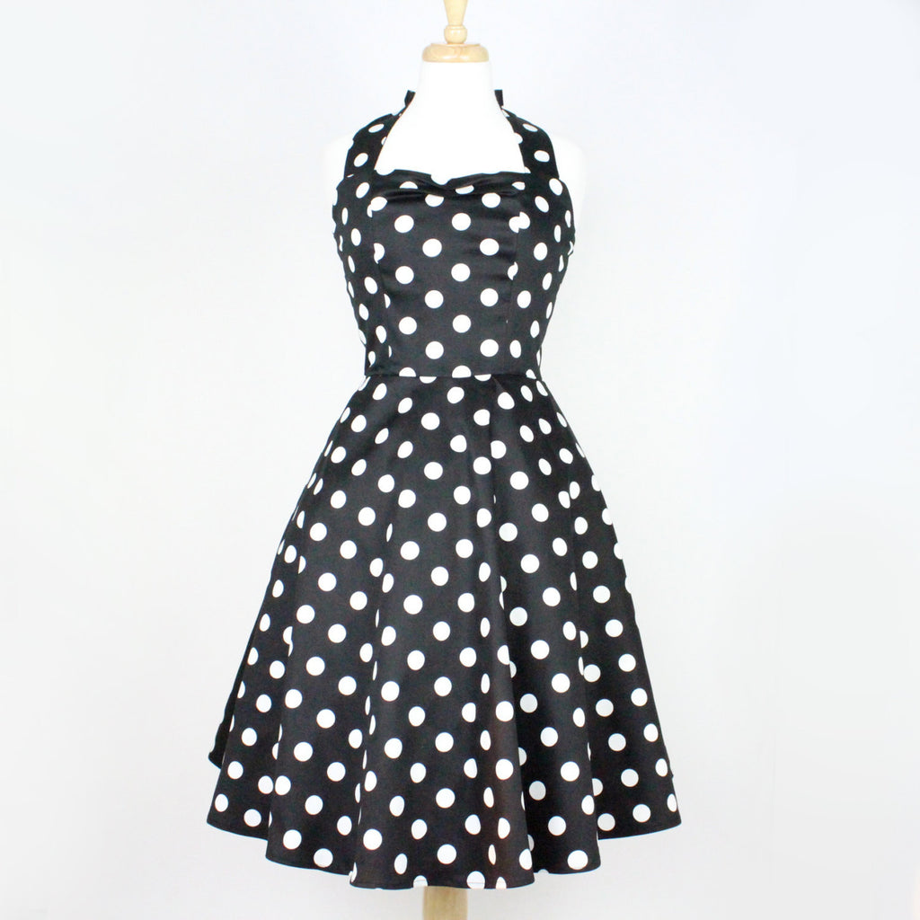 Classic Black and White Polkadots  Pinup Dress #D-FS979