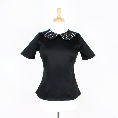 Black and Polkadots Vintage Inspired Top T-BP558