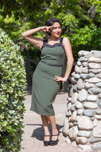Load image into Gallery viewer, Pin up Teal or Army Green wiggle dress WD-T301,WD-G300