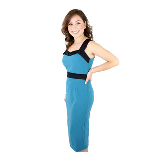 Pin up Teal or Army Green wiggle dress WD-T301,WD-G300