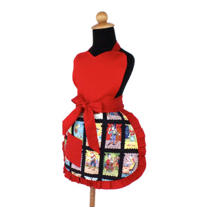 Little Girls Colorful Cartas Marcadas Apron  / One size Fits Ages 2-10 A-G165