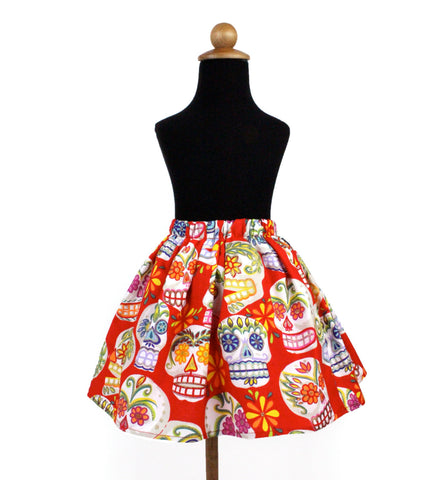Red Sugar Skull Girl's Skirt GS-SK428