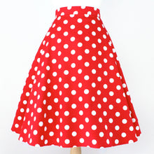 Load image into Gallery viewer, Pinup Red Polkadots Full Circle Skirt #FS-R890