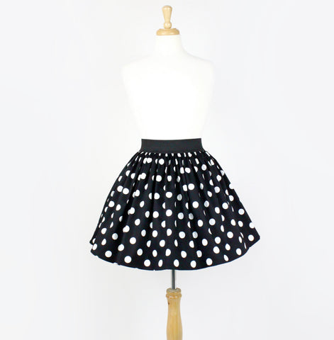 Black and White Polkadots Pleated Skirt #PS-B745