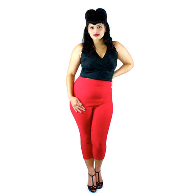 Classic Red High Waisted Capri Pants #CP-B577
