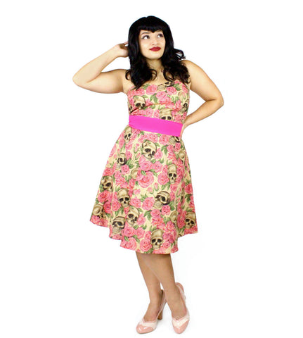 Skulls and Roses Tan and Pink Strapless Dress #D-SS432