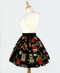 Frida and Cactus Pleated Skirt #PS-C997