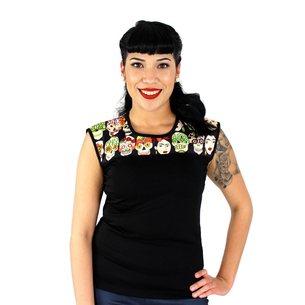 Frida Day of the Dead and Vintage Inspired Black Top #T-SK556