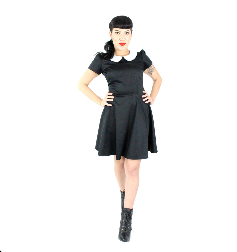 Classic Wednesday Addams black skater dress #CWCD43944