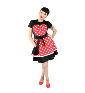 Minnie Mouse Daper White Polkadot and Red Two-Tier Apron #TW-203