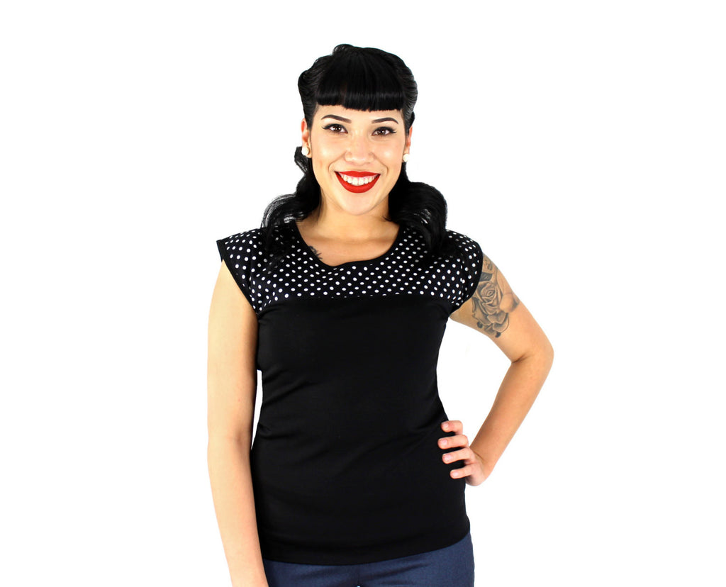 Black and White Polkadots Vintage Inspired Top #T-SK557