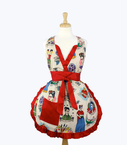 Colorful Frida Kahlo V-Cut Apron # A960