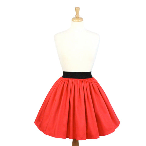 Solid Coral Red A-line Pleated Skirt #S-AP645
