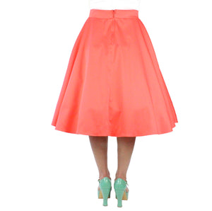 Coral Pinup Vintage Inspired Full Circle Skirt # FS-C645