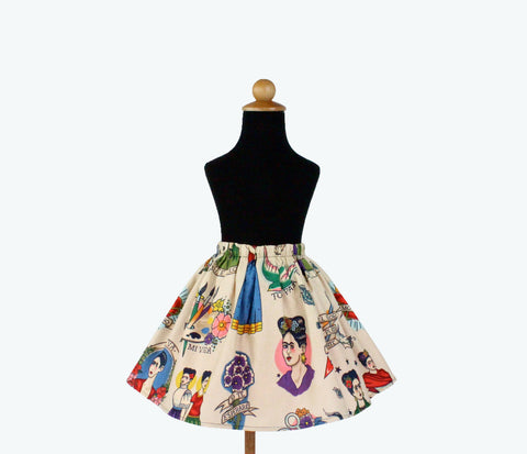 Girl's Beige Colorful Frida Skirt #GS-F480