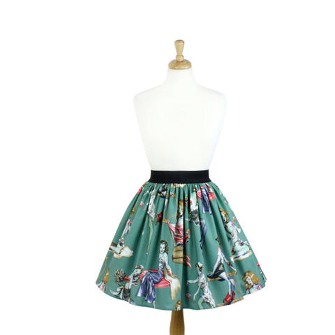 Zombie Pin up A-line Pleated Skirt #PS-Z10
