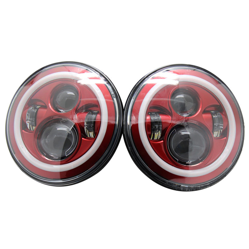 Jeep Wrangler Red Halo Led Headlights 1997 2018 Red 4
