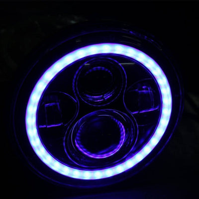 "7"" Harley Headlights - 7"" Blue Halo Daymaker Style LED Harley Headlights"