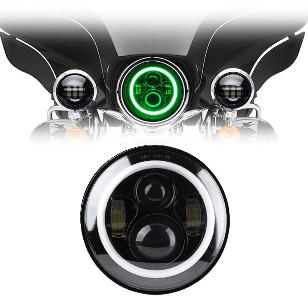 7 Quot Green Halo Daymaker Style Led Harley Headlights Ralu Led