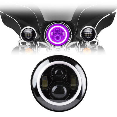 "7"" Pink Halo Daymaker Style LED Harley Headlights"