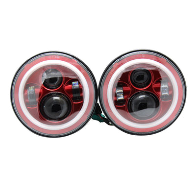 Jeep Wrangler JL Red Halo LED Headlights 2018-2019 - Red 4 Pod (Pair)