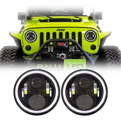 Jeep Wrangler Halo LED Headlights JK/JKU/TJ 1997-2018 - 4 Pod Gen2 Halo (Pair)