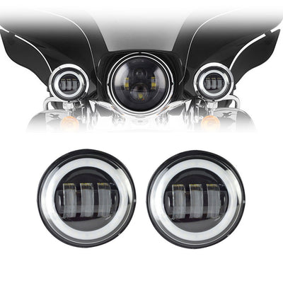 "Harley Auxiliary Lights - 4.5"" Harley Daymaker Style Halo LED Passing/Auxiliary Lights"