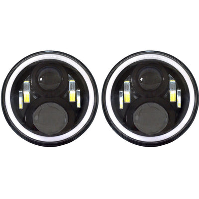 Jeep Headlights - 7 Inch Round Black  4 Pod Gen2 Halo LED Headlights (Pair) - Jeep Wrangler JK/TJ/LJ/CJ