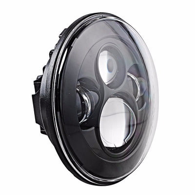 Jeep Headlights - 7 Inch Round Black 4 Pod LED Headlights (Pair) - Jeep Wrangler JK/TJ/LJ/CJ