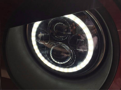 Jeep Headlights - 7 Inch Round Black Color Halo LED Headlights (Pair) - Jeep Wrangler JK/TJ/LJ/CJ