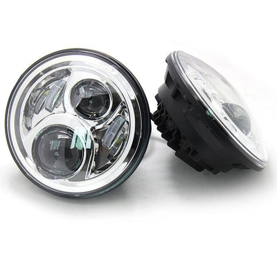 Jeep Headlights - 7 Inch Round Black Gen2 4 Pod LED Headlights (Pair) - Jeep Wrangler JK/TJ/LJ/CJ