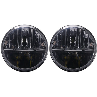 Jeep Headlights - 7 Inch Round Black Half Moon LED Headlights (Pair) - Jeep Wrangler JK/TJ/LJ/CJ