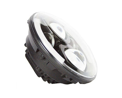 Jeep Headlights - 7 Inch Round Black Split Halo LED Headlights (Pair) - Jeep Wrangler JK/TJ/LJ/CJ