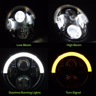 Jeep Headlights - 7 Inch Round Black Top Halo LED Headlights (Pair) - Jeep Wrangler JK/TJ/LJ/CJ
