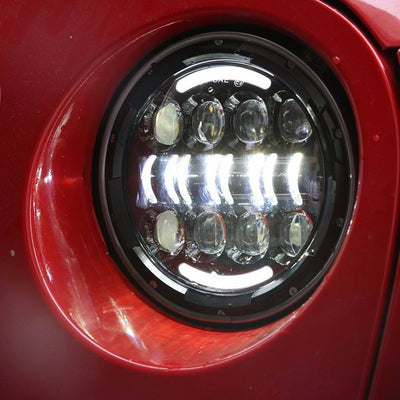 Jeep Headlights - 7 Inch Round Bugeye Bar LED Headlights (Pair) - Jeep Wrangler JK/TJ/LJ/CJ
