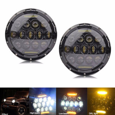 Jeep Headlights - 7 Inch Round Bugeye Headlights With Color Daytime LEDs (Pair) - Jeep Wrangler JK/TJ/LJ/CJ