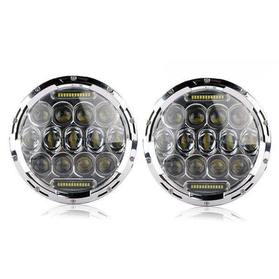 Jeep Headlights - 7 Inch Round Chrome Bugeye Headlights With Color Daytime LEDs