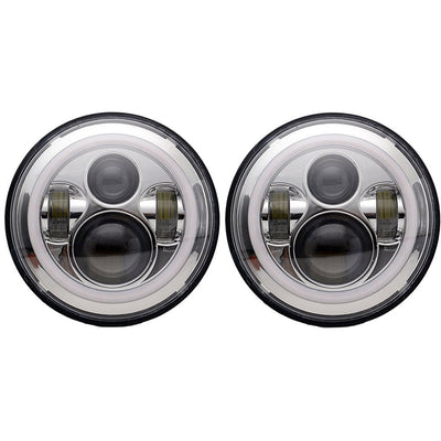 Jeep Headlights - 7 Inch Round Chrome Color Halo LED Headlights (Pair) - Jeep Wrangler JK/TJ/LJ/CJ