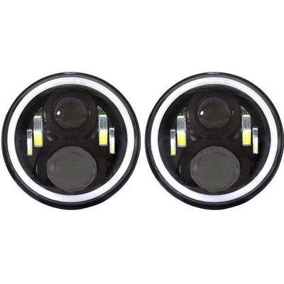 Jeep Headlights - 7 Inch Round Gen2 RGB Color Changing Halo LED Headlights (Pair) - Jeep Wrangler JK/TJ/LJ/CJ