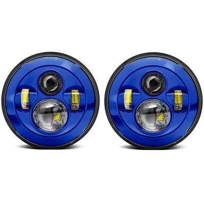 Jeep Headlights - 7 Inch Round Painted 4 Pod LED Headlights (Pair) - Jeep Wrangler JK/TJ/LJ/CJ