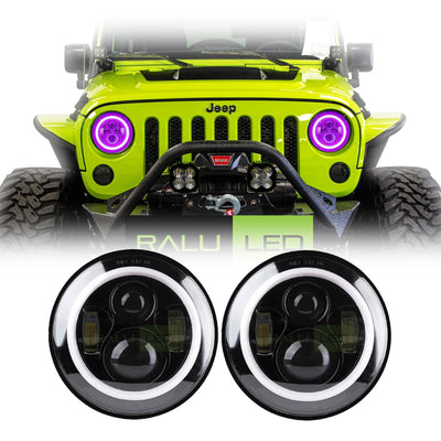 Jeep Wrangler Color Halo LED Headlights JK/JKU/TJ 1997-2018 - Black 4 Pod (Pair)