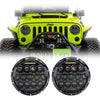 Jeep Wrangler LED Headlights JK/JKU/TJ 1997-2018 - Black Bugeye Colored Daytime Running Lights (Pair)