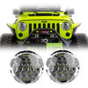 Jeep Wrangler LED Headlights JK/JKU/TJ 1997-2018 - Chrome Bugeye Colored Daytime Running Lights (Pair)